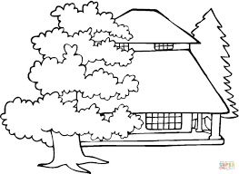 mansion and old oaks coloring page free printable coloring pages