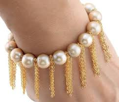 pearl bracelet with yellow gold images Buy champagne pearl bracelet with yellow gold fringe chain online jpg