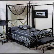 Dark Canopy Bed Curtains Bedroom Wrought Iron Bed Frames With Rustic And Modern Style