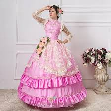 luxury lace pink flower beading ball gown medieval dress