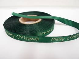 emerald dark green 2 or 20 metres 10mm merry christmas satin