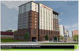 dissecting hotel designs in the latest administrative alternates rendering of dual brand hilton garden view from davie street
