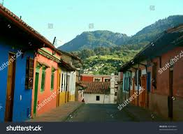 colonial houses colorful colonial houses candelaria neighborhood cartagena stock