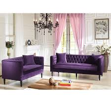 Velvet Tufted Loveseat Baxton Studio Flynn French Inspired Purple Velvet Upholstered