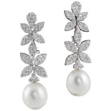 white gold drop earrings classic diamond pearl white gold drop earrings for sale at 1stdibs