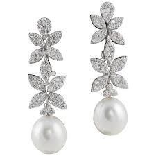 white gold drop earrings classic diamond pearl white gold drop earrings for sale at 1stdibs