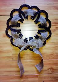 horseshoe wreath with ribbon real horseshoes by shabbyworks