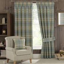Duck Egg And Gold Curtains Highland Check Curtains Dunelm