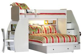 White Wooden Bunk Bed Bedroom White Full Size Over Queen Bunk Bed With Desk And Drawer