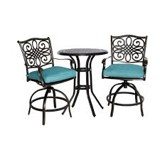 Round Outdoor Bistro Chair Cushions by Hanover Traditions 3 Piece Aluminum Round Bar Height Patio Bistro