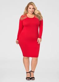 stud shoulder bodycon sweater dress plus size dresses