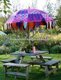 colorful embroidery big garden umbrella patio home decor art