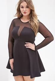 forever 21 plus size mesh paneled fit u0026 flare dress in black lyst