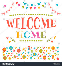 welcome home text colorful design elements stock vector 419894011