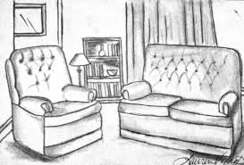 interior living room drawing design two point perspective living