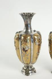 Silver Vases Rare Pair Of Silver Vases In Shibayama Inlaid By Masatsugu Ref 64379