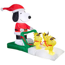 Snoopy Christmas Inflatable Decorations by Gemmy Holiday Ornaments U0026 Decor 5 Ft W Inflatable Snoopy Sled