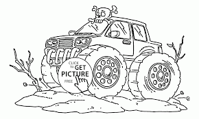 monster truck with scull coloring page for kids transportation