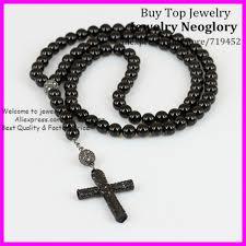 aliexpress men necklace images 5pcs black onyx stone cross necklace religious men necklace jpg