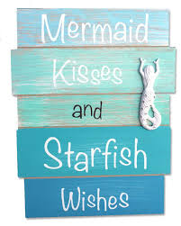 mermaid kisses and starfish wishes plank sign wood planks plank