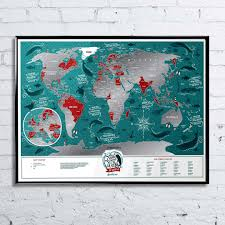 Map Of The World Poster by Marine Map Of The World Travel Scratch Poster 40 X 60cm