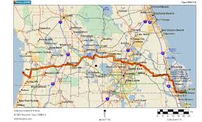 Florida Orlando Map by Cycling Routes Crossing Florida