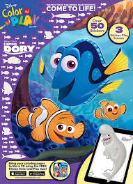 disney finding dory color u0026 play sticker scene coloring book bendon