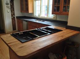 countertops brown glass cabinet doors butcher block countertops