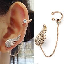 wing earrings fashion cuff earrings micro pave clear cz angel wings