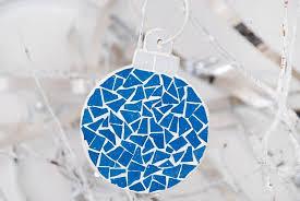 tree ornament mosaic blue
