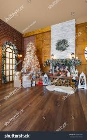 beautiful christmas interior warm room fireplace stock photo