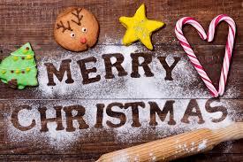 christmas cookies and text merry christmas stock photo image