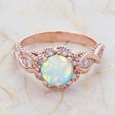 Opal Wedding Rings by 14k Vintage Rose Gold Engagement Ring Center Is A By Ejcollections