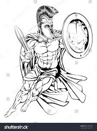 illustration muscular strong greek spartan warrior stock