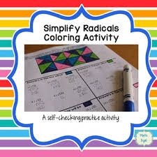 simplify radical expressions coloring activity by math dyal tpt