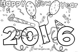 simple ideas new year coloring pages happy 2016 printable free