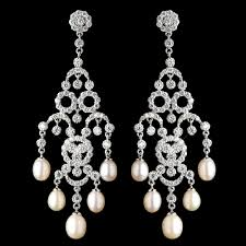 pearl chandelier rhodium cz freshwater pearl chandelier earrings 4704