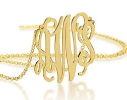 gold plated monogram necklace 18k gold monogram necklace14 inch chain16 inch18 inch20