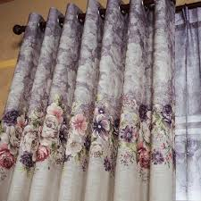 Purple Floral Curtains Floral Printed Linen Beautiful Waverly Drapes