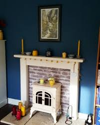 feature wall and fireplace paint colour blue slate from house of