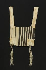 talit katan black and white striped wool tallit katan found postwar by a