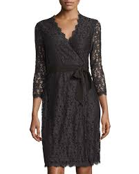 dvf wrap dress diane furstenberg juliana 3 4 sleeve lace wrap dress black
