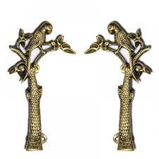 Brass Door Handles Unravel India Parrot Brass Door Handle Set Of 2