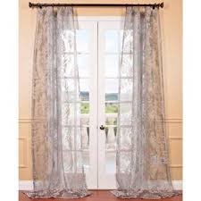 Overstock Drapes Agatha Taupe Grey Patterned Sheer Curtain Panel Overstock Com
