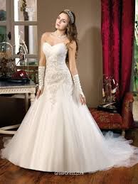strapless beaded lace bodice timeless wedding dress with organza