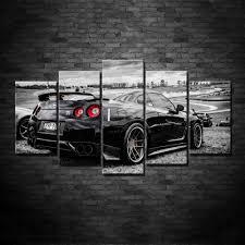 nissan sports car black nissan gtr exotic sport car 5 panel canvas wall art print u2013 decal labs