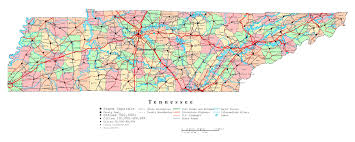 Tennessee Time Zone Map With Cities by Large Detailed Administrative Map Of Tennessee State With Roads For Map Of Cities Jpg