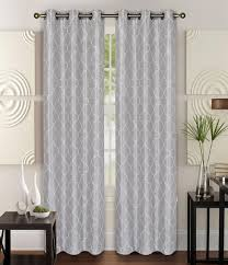 pair of piper silver faux silk window curtain panels w grommets