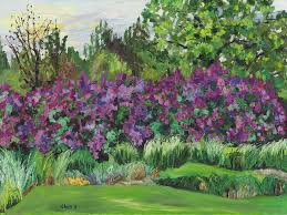 lilacs at ornamental grass garden painting by plichta