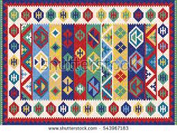 Colorful Kilim Rug Colorful Oriental Mosaic Kilim Rug Traditional Stock Vector